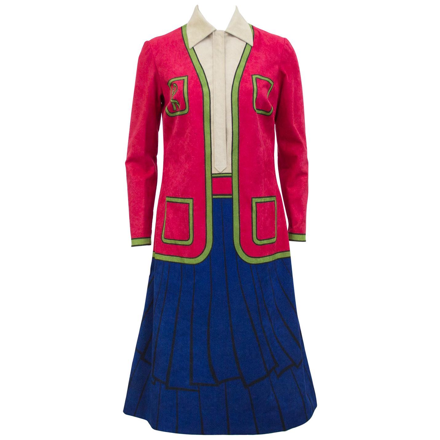 1960s Roberta di Camerino Trompe L'oeil Ultrasuede Dress