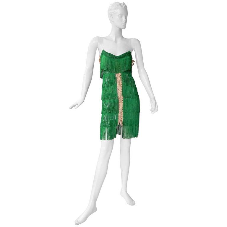 Dolce & Gabbana Naomi's Runway Flapper Fringe Corset Dress, 2003  For Sale