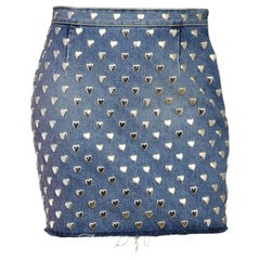 Saint Laurent Blue Raw Hem Denim Silver Heart Stud Mini Skirt Sz 29