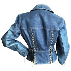 Azzedine Alaia Pristine 1984 Corset Lace Double Breasted Denim Blue Jean Jacket