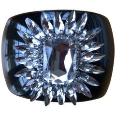 Christian Lacroix Black Cuff Bracelet with Dramatic Crystal Starburst