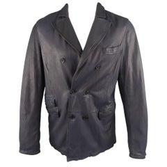 NEIL BARRETT Jacket M Navy Leather Double Breasted Sport Coat Jacket