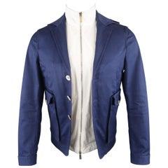DSQUARED2 Jacket - US36 Navy Hooded Jacket w/ Vest - Coat