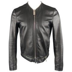 EMPORIO ARMANI Leather Jacket - US38 Black Collarless Oversized Zipper