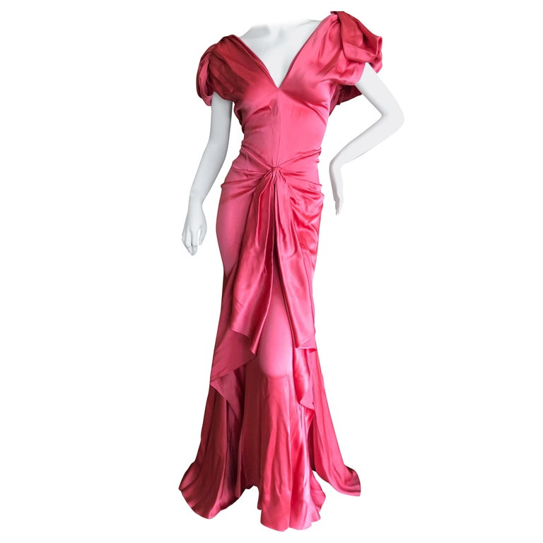 John Galliano Salmon Color Dramatic Bias Cut Evening Dress Spring 2002 For Sale
