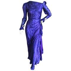Yves Saint Laurent Rive Gauche '76 Sheer Purple Silk One Shoulder Evening Dress