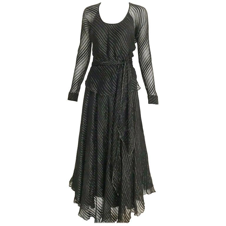 Vintage Julio Black and Gild Silk Blouse and Skirt Set  For Sale