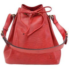 Vintage Louis Vuitton Petit Noe Red Epi Leather Shoulder Bag