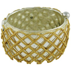 Yves Saint Laurent YSL Vintage Two Tone Grid Design Cuff Bracelet