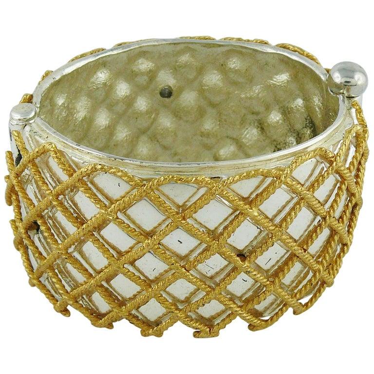 Yves Saint Laurent YSL Vintage Two Tone Grid Design Cuff Bracelet For Sale