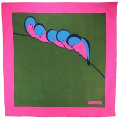Vintage Christian Dior Hot Pink, Blue & Green Silk Scarf With Bird Motif