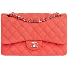 2014 Chanel Pink Quilted Caviar Suede Leather Jumbo Classic Double Flap Bag