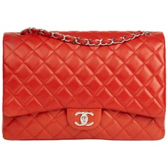 2011 Chanel Orange Red Quilted Lambskin Maxi Classic Double Flap Bag