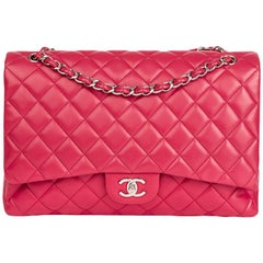 2009 Chanel Fuchsia Quilted Lambskin Maxi Classic Single Flap Bag