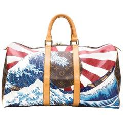 Customised Louis Vuitton 'Japanese Wave' Monogram Keepall Bag