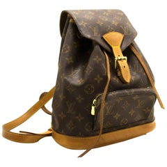 Louis Vuitton Montsouris MM Monogram Backpack Bag Canvas Leather