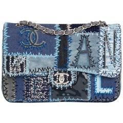 2015 Chanel Blue Denim Patchwork Jumbo Classic Single Flap Bag