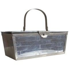1960s Silver Basket Weave Mod Box Handbag