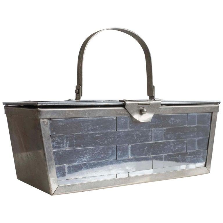 1960s Silver Basket Weave Mod Box Handbag For Sale