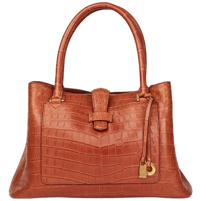 Loro Piana Autumn Leaves Matte Crocodile Leather Bellevue Media, 2000  For Sale