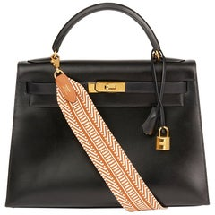 Hermes Black Box Calf Leather Vintage Kelly 32cm Sellier Bag, 1988