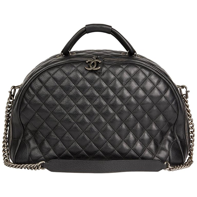 2017 Chanel Black Quilted Calfskin Large Round Trip Bowling Bag
