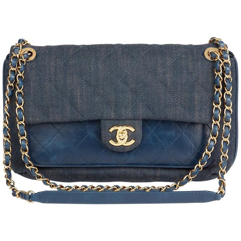 2017 Chanel Blue Quilted Denim And Calfskin Leather Single Flap Bag For