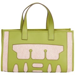 2010 Hermes Vert Anis Swift Leather & Natural Toile Petit H PM Skeleton Tote