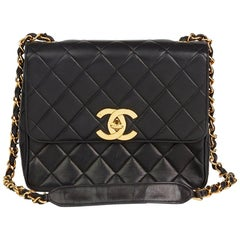 1990s Chanel Black Quilted Lambskin Vintage XL Classic Single Flap Bag