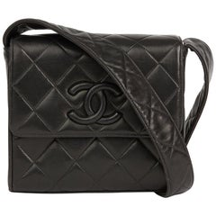 1991 Chanel Black Quilted Lambskin Vintage Leather Logo Shoulder Flap Bag