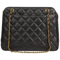1990s Chanel Black Quilted Caviar Leather Timeless Shoulder Bag
