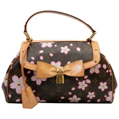 LOUIS VUITTON BAG 'Cherry Blossom' in Brown Monogram Canvas with Floral Pattern