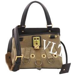 Valentino Joy Lock Top Handle Bag Printed Canvas Small