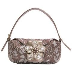 VALENTINO Mini Evening Bag in Bronze Satin and Lace