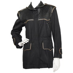 Yves Saint Laurent Rive Gauche Jacket with Leather and Gold Trim, 1980s