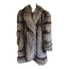 Silver tipped Fox Swing Coat Over sized Large Scalloped Detail Unisex