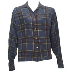 Calvin Klein 1980s Silk Plaid Blouse Size 6.