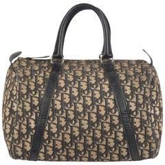 Christian Dior Vintage Black Logo Tapestry Canvas Boston Bag Handbag
