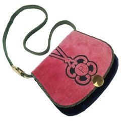 C.1970 Cesare Piccini Trompe L'oeil Velvet Handbag