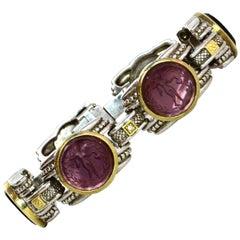 Judith Ripka Silver 18K Gold Burgundy Glass Intaglio Station Bracelet w Diamonds