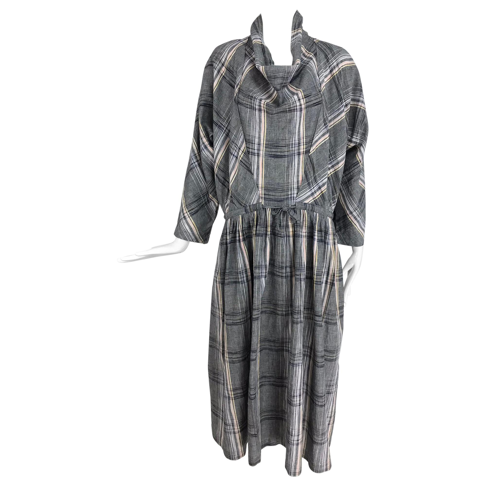 Issey Miyake Funnel Neck Plaid Cotton Draw Cord Waist Dress 1980s