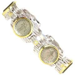 Judith Ripka Silver 18K Gold Green Glass Intaglio Station Bracelet w Diamonds