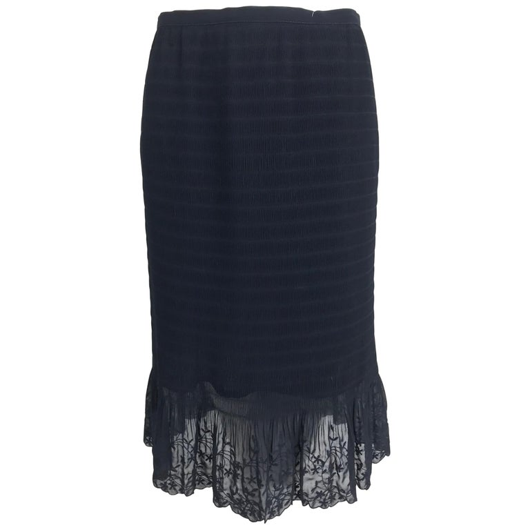 Valentino ruched black chiffon embroidered lace hem skirt