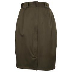 Gianni Versace 1980s Olive Wool Skirt with Pockets Size 6.