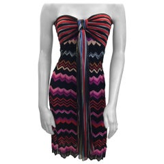 Missoni Multi-Color Striped Strapless Dress