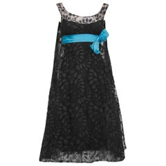 1950's Saks Fifth Avenue Black Lace Cocktail Dress with Turquoise Ribbon