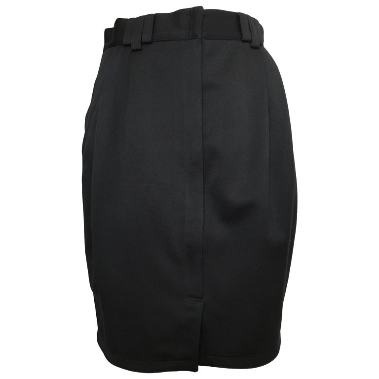 Gianni Versace 1980s Black Wool Skirt with Pockets Size 4.