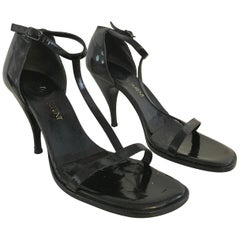 YSL Black Patent Leather High Heels Size 8.
