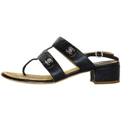 Chanel Black Calfskin Quilted CC Turnlock Thong Heeled Sandals Sz 38