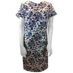Carolina Herrera Navy Blue and White Print Dress NWT